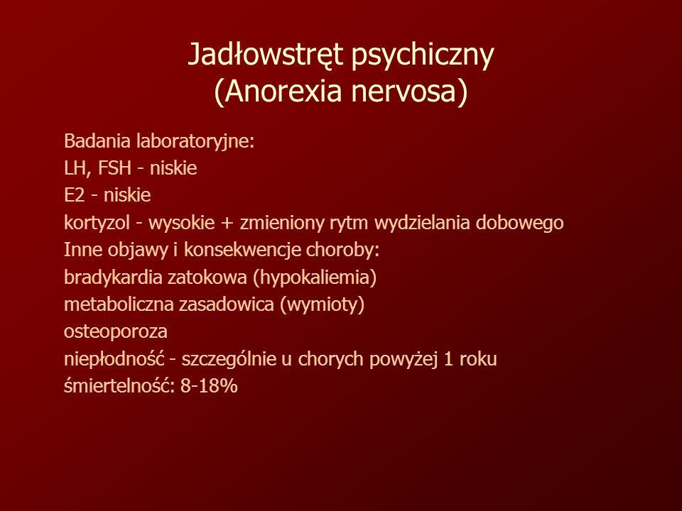 Jadłowstręt psychiczny (Anorexia nervosa) Badania laboratoryjne: LH, FSH - niskie E2 - niskie kortyzol - wysokie + zmieniony rytm wydzielania dobowego Inne objawy i konsekwencje choroby: bradykardia zatokowa (hypokaliemia) metaboliczna zasadowica (wymioty) osteoporoza niepłodność - szczególnie u chorych powyżej 1 roku śmiertelność: 8-18%