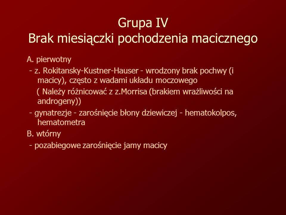 Grupa IV Brak miesiączki pochodzenia macicznego A.