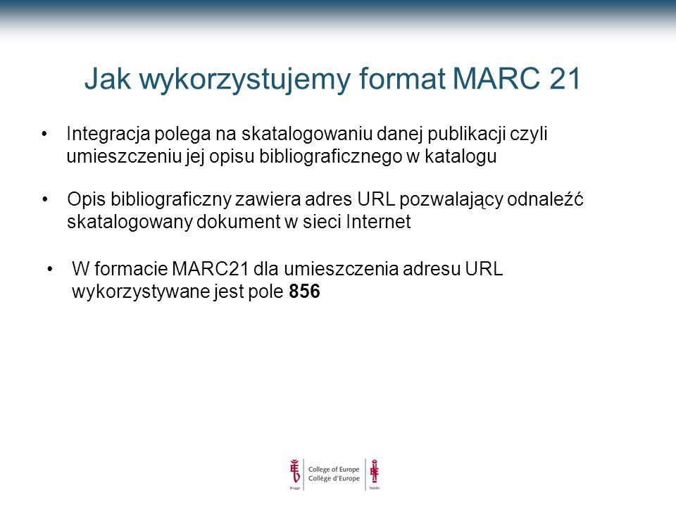 Jak wykorzystujemy format MARC 21 Integracja polega na skatalogowaniu danej publikacji czyli umieszczeniu jej opisu bibliograficznego w katalogu Opis bibliograficzny zawiera adres URL pozwalający odnaleźć skatalogowany dokument w sieci Internet W formacie MARC21 dla umieszczenia adresu URL wykorzystywane jest pole 856