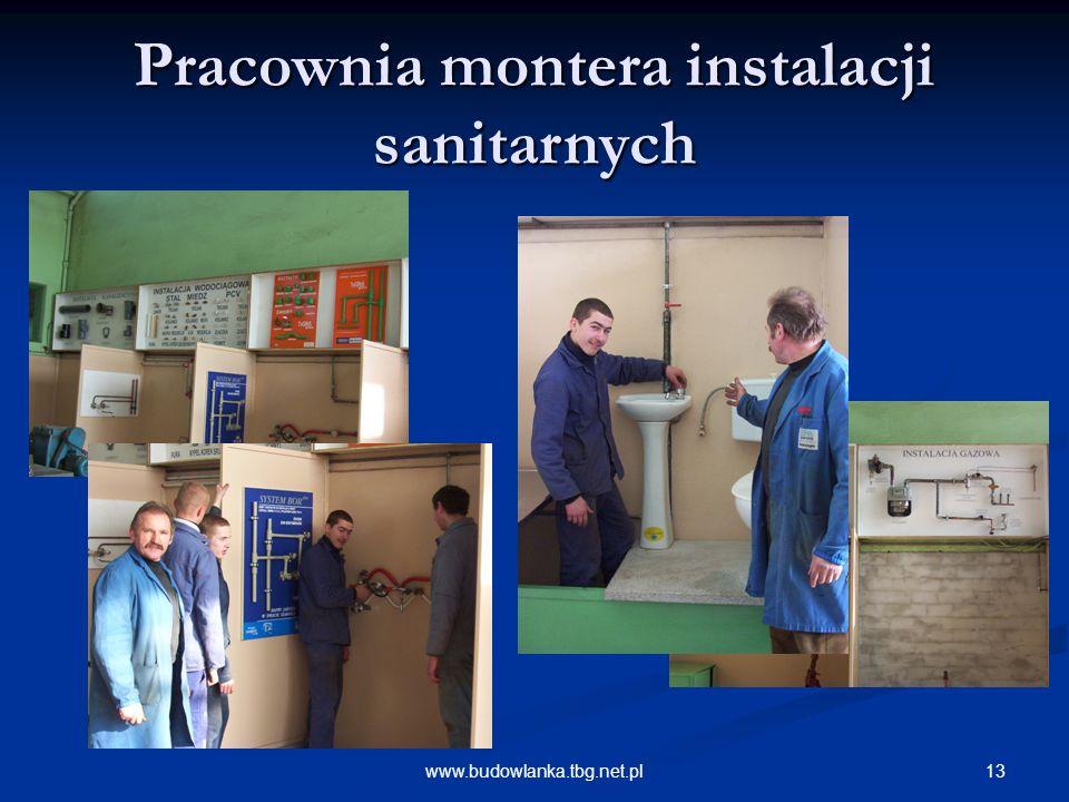 13www.budowlanka.tbg.net.pl Pracownia montera instalacji sanitarnych