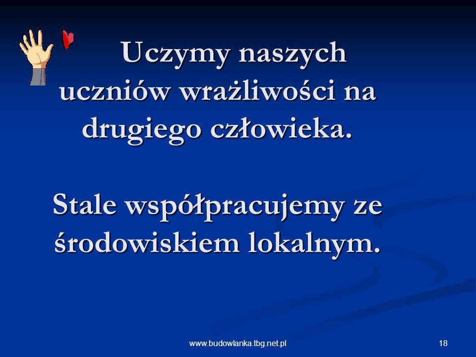 18www.budowlanka.tbg.net.pl Uczymy naszych uczniów wrażliwości na drugiego człowieka.