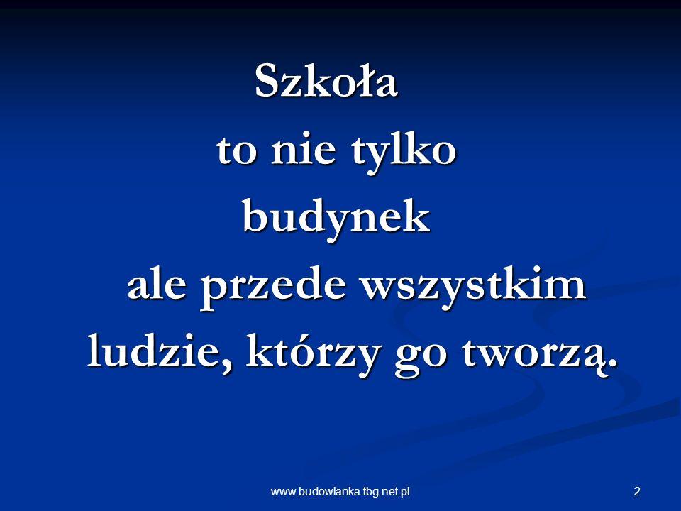 2www.budowlanka.tbg.net.pl Szkoła Szkoła to nie tylko to nie tylko budynek budynek ale przede wszystkim ale przede wszystkim ludzie, którzy go tworzą.