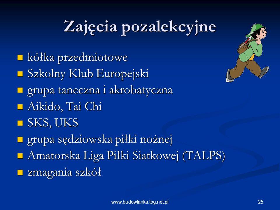 25www.budowlanka.tbg.net.pl Zajęcia pozalekcyjne kółka przedmiotowe kółka przedmiotowe Szkolny Klub Europejski Szkolny Klub Europejski grupa taneczna