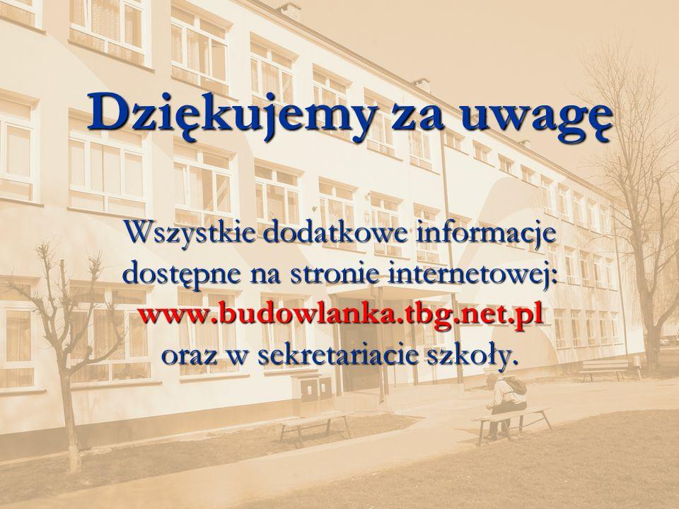 www.budowlanka.tbg.net.pl 35 Dziękujemy za uwagę Wszystkie dodatkowe informacje dostępne na stronie internetowej: www.budowlanka.tbg.net.pl oraz w sekretariacie szkoły.