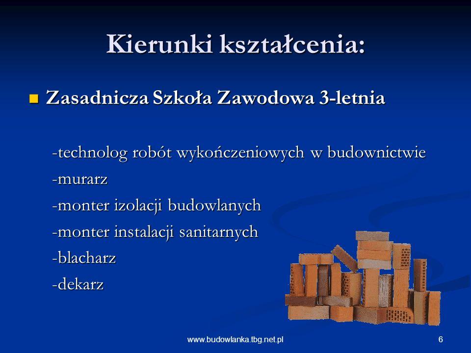 6www.budowlanka.tbg.net.pl Kierunki kształcenia: Zasadnicza Szkoła Zawodowa 3-letnia Zasadnicza Szkoła Zawodowa 3-letnia -technolog robót wykończeniow