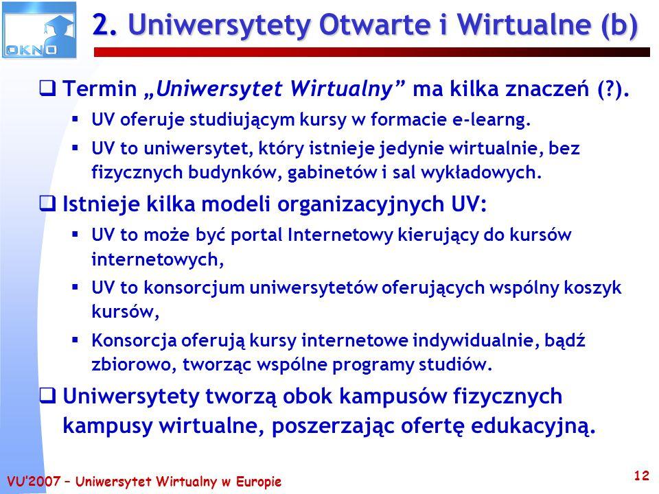 VU2007 – Uniwersytet Wirtualny w Europie 12 2. Uniwersytety Otwarte i Wirtualne (b) Termin Uniwersytet Wirtualny ma kilka znaczeń (?). UV oferuje stud