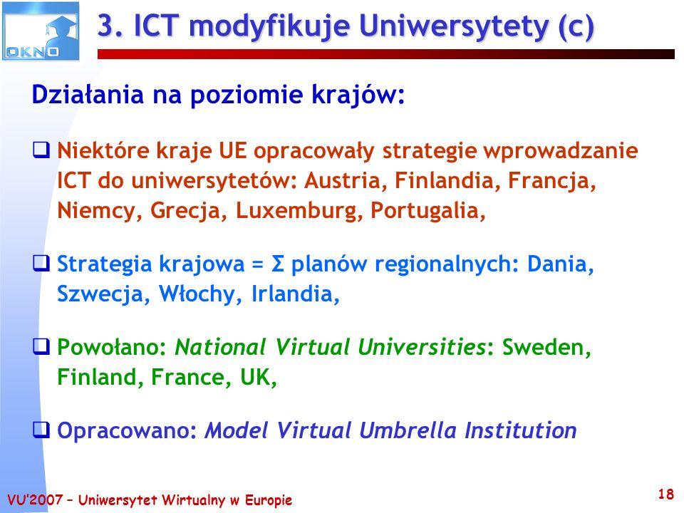VU2007 – Uniwersytet Wirtualny w Europie 18 3. ICT modyfikuje Uniwersytety (c) Działania na poziomie krajów: Niektóre kraje UE opracowały strategie wp