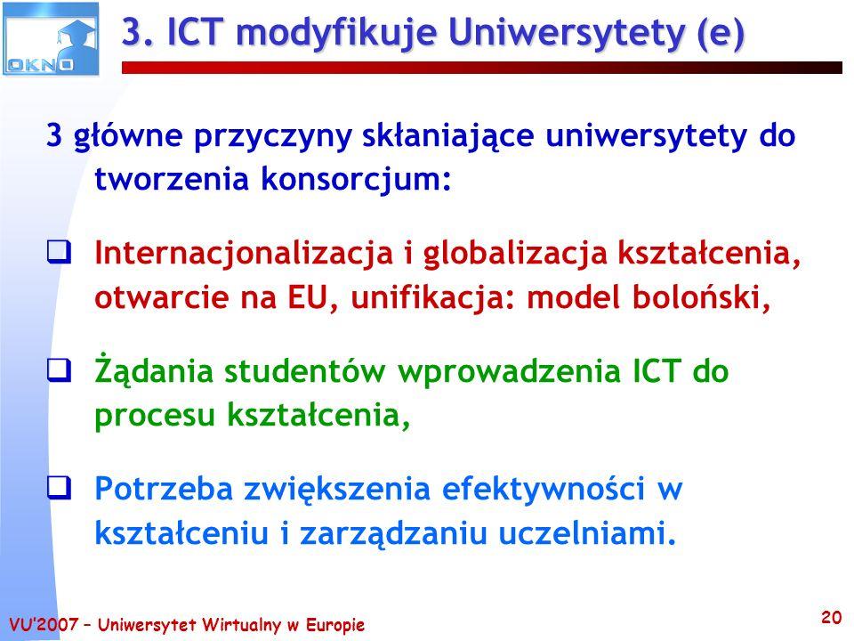 VU2007 – Uniwersytet Wirtualny w Europie 20 3. ICT modyfikuje Uniwersytety (e) 3 główne przyczyny skłaniające uniwersytety do tworzenia konsorcjum: In