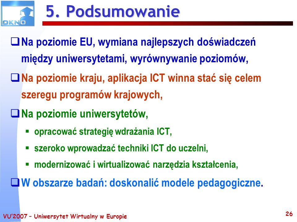 VU2007 – Uniwersytet Wirtualny w Europie 26 5. Podsumowanie Na poziomie EU, wymiana najlepszych doświadczeń między uniwersytetami, wyrównywanie poziom