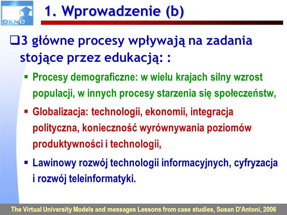 VU2007 – Uniwersytet Wirtualny w Europie 5 1. Wprowadzenie (b) 3 główne procesy wpływają na zadania stojące przez edukacją: : Procesy demograficzne: w