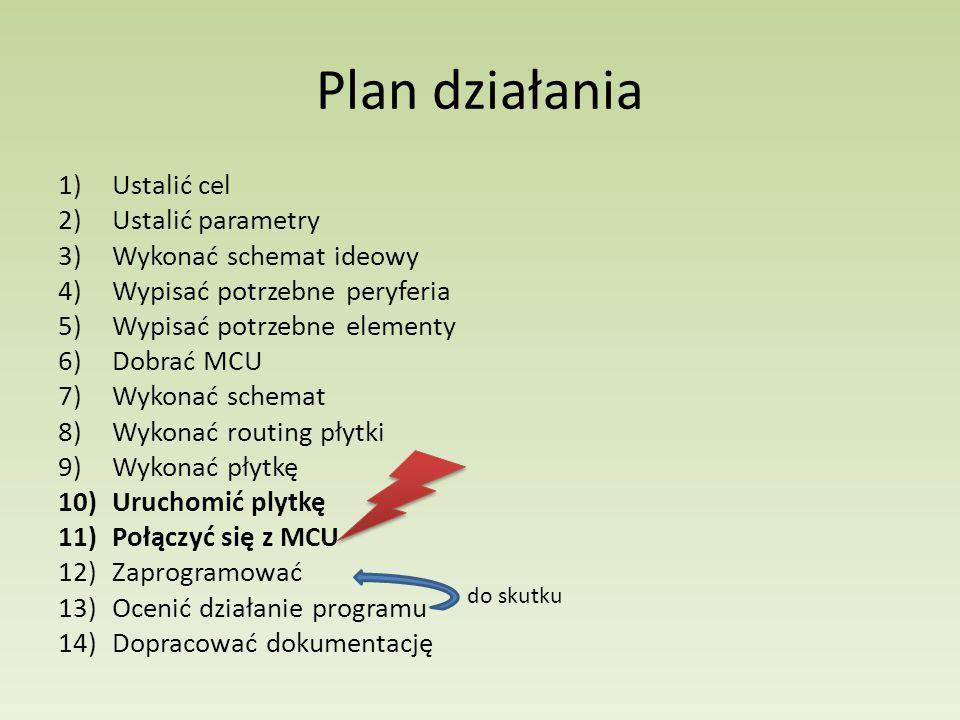 Plan działania 1)Ustalić cel 2)Ustalić parametry 3)Wykonać schemat ideowy 4)Wypisać potrzebne peryferia 5)Wypisać potrzebne elementy 6)Dobrać MCU 7)Wy