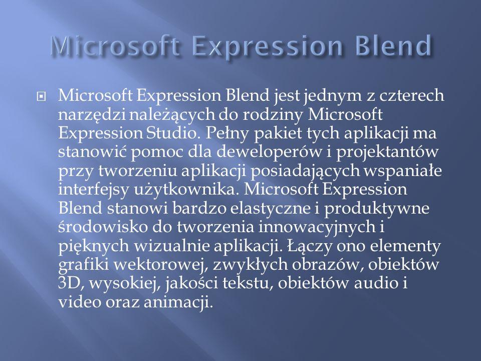 Microsoft Expression Blend jest jednym z czterech narzędzi należących do rodziny Microsoft Expression Studio. Pełny pakiet tych aplikacji ma stanowić
