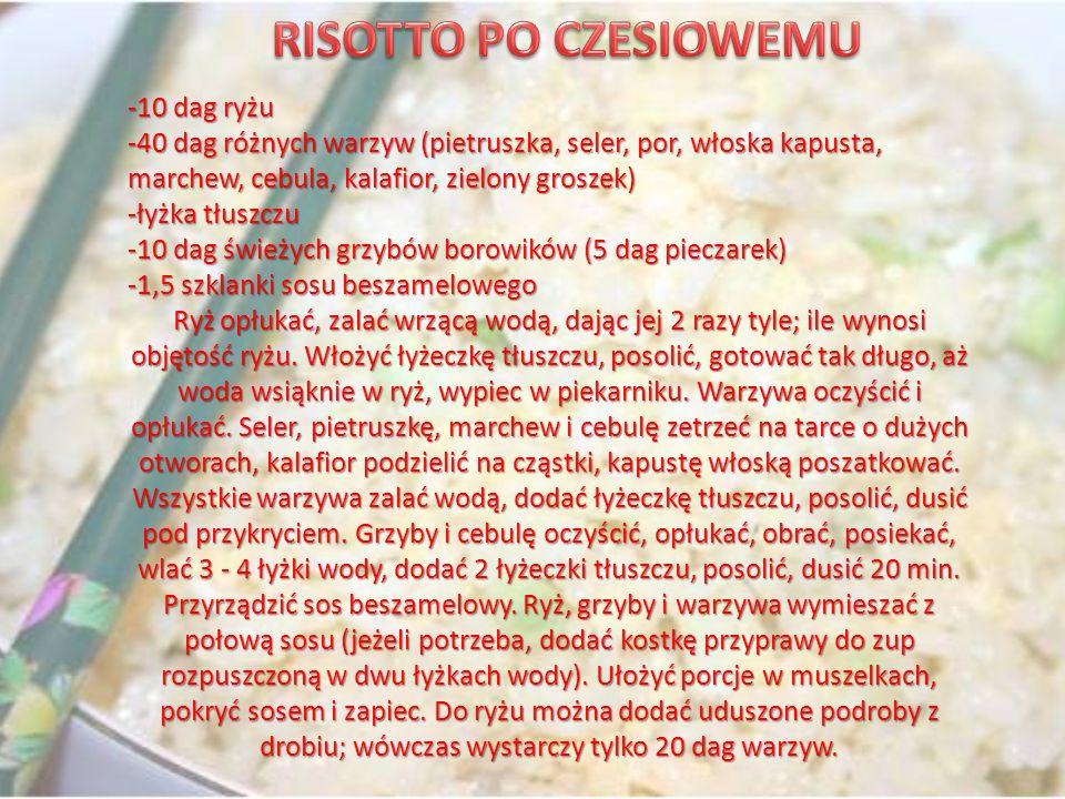 -10 dag ryżu -40 dag różnych warzyw (pietruszka, seler, por, włoska kapusta, marchew, cebula, kalafior, zielony groszek) -łyżka tłuszczu -10 dag śwież