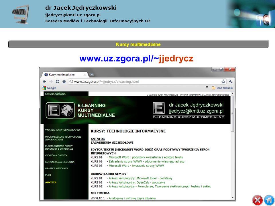 Kursy multimedialne dr Jacek Jędryczkowski jjedrycz@kmti.uz.zgora.pl Katedra Mediów i Technologii Informacyjnych UZ www.uz.zgora.pl/~jjedrycz (1) Tytuł (2) Rozwój (3) JJedrycz (4) Multimedia (5) Multimedialność (6) Symbole (7) Hipertekstowość (8) Interaktywność (9) Komunikacyjność (10) Cyberprzemoc (11) Organizacje (12) Adresy (13) MM w nauce (14) Koniec