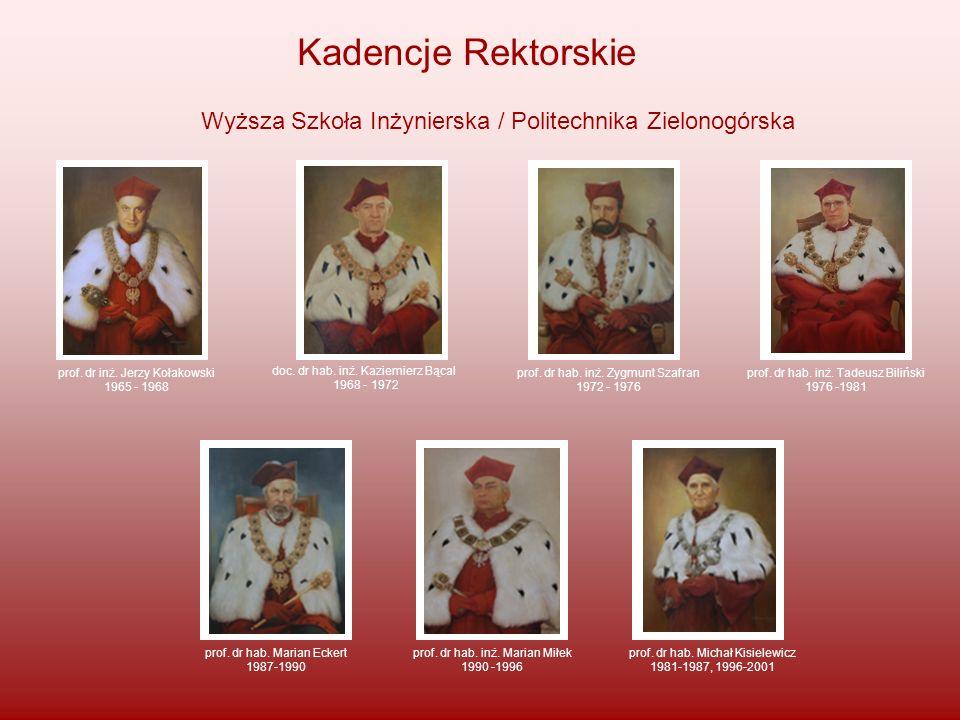Kadencje Rektorskie Wyższa Szkoła Inżynierska / Politechnika Zielonogórska prof. dr inż. Jerzy Kołakowski 1965 - 1968 doc. dr hab. inż. Kaziemierz Bąc