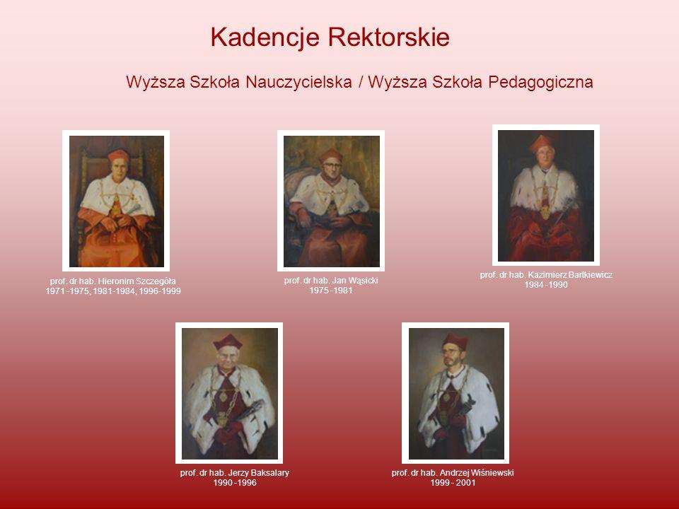 Kadencje Rektorskie Wyższa Szkoła Nauczycielska / Wyższa Szkoła Pedagogiczna prof. dr hab. Hieronim Szczegóła 1971 -1975, 1981-1984, 1996-1999 prof. d