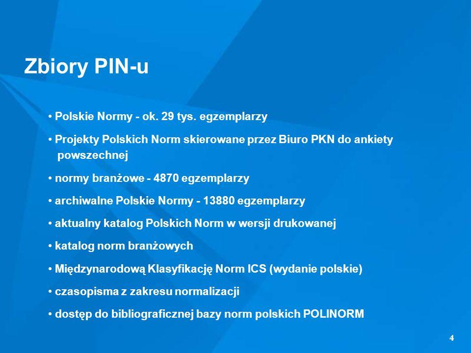 4 Zbiory PIN-u Polskie Normy - ok. 29 tys. egzemplarzy Projekty Polskich Norm skierowane przez Biuro PKN do ankiety powszechnej normy branżowe - 4870