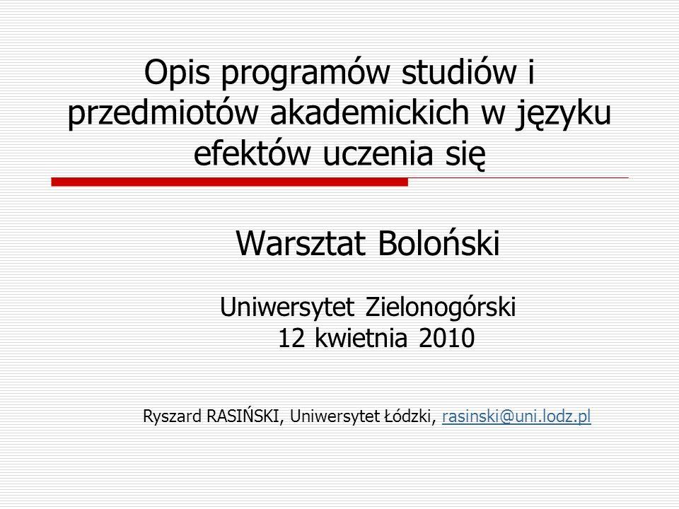 Opis programów studiów i przedmiotów akademickich w języku efektów uczenia się Warsztat Boloński Uniwersytet Zielonogórski 12 kwietnia 2010 Ryszard RA