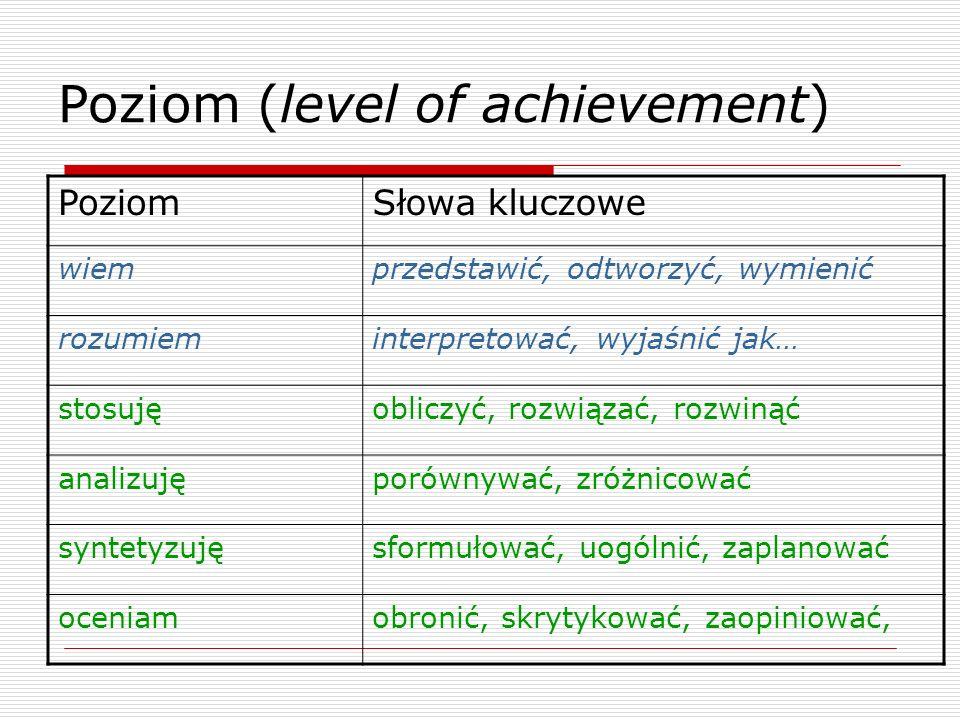 Poziom (level of achievement) PoziomSłowa kluczowe wiemprzedstawić, odtworzyć, wymienić rozumieminterpretować, wyjaśnić jak… stosujęobliczyć, rozwiązać, rozwinąć analizujęporównywać, zróżnicować syntetyzujęsformułować, uogólnić, zaplanować oceniamobronić, skrytykować, zaopiniować,