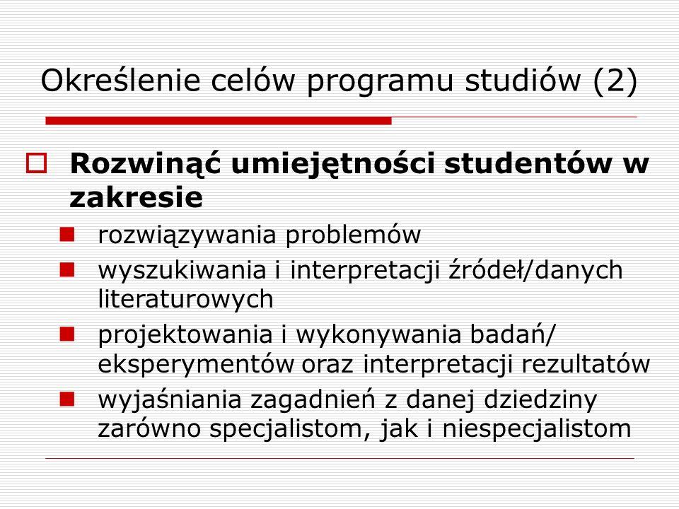 Określenie celów programu studiów (2) Rozwinąć umiejętności studentów w zakresie rozwiązywania problemów wyszukiwania i interpretacji źródeł/danych literaturowych projektowania i wykonywania badań/ eksperymentów oraz interpretacji rezultatów wyjaśniania zagadnień z danej dziedziny zarówno specjalistom, jak i niespecjalistom