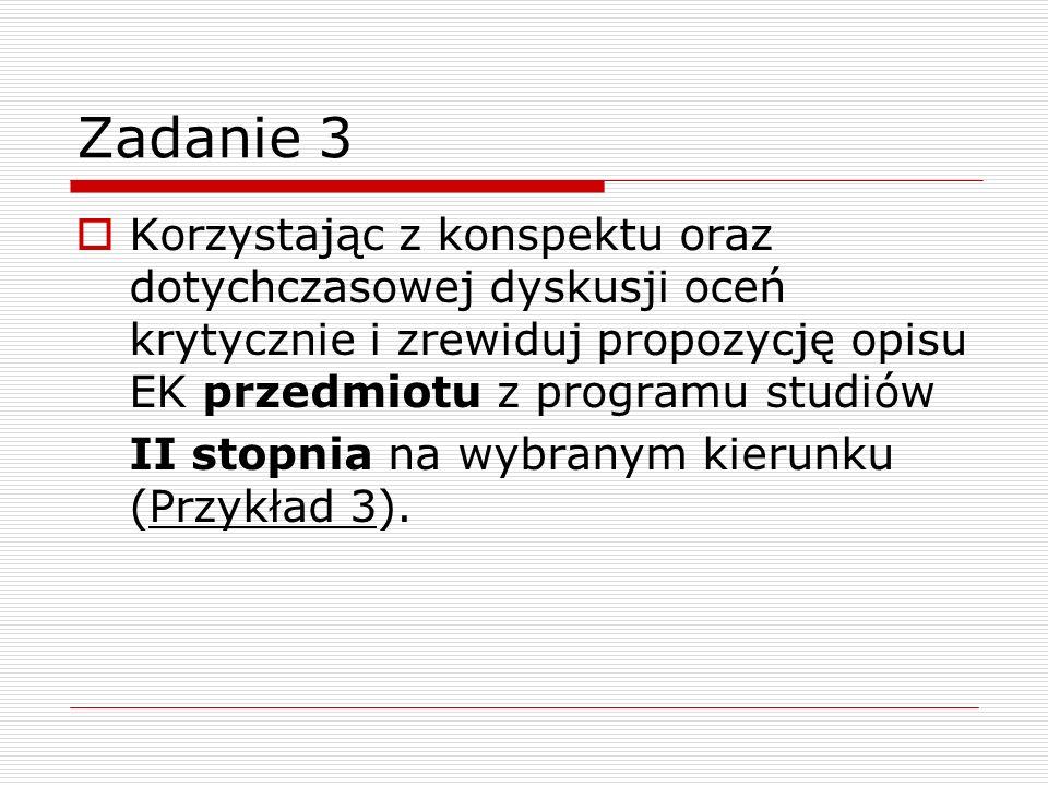 Zadanie 3 Korzystając z konspektu oraz dotychczasowej dyskusji oceń krytycznie i zrewiduj propozycję opisu EK przedmiotu z programu studiów II stopnia na wybranym kierunku (Przykład 3).
