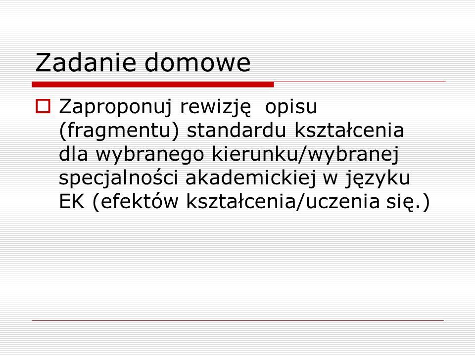 Zadanie domowe Zaproponuj rewizję opisu (fragmentu) standardu kształcenia dla wybranego kierunku/wybranej specjalności akademickiej w języku EK (efektów kształcenia/uczenia się.)