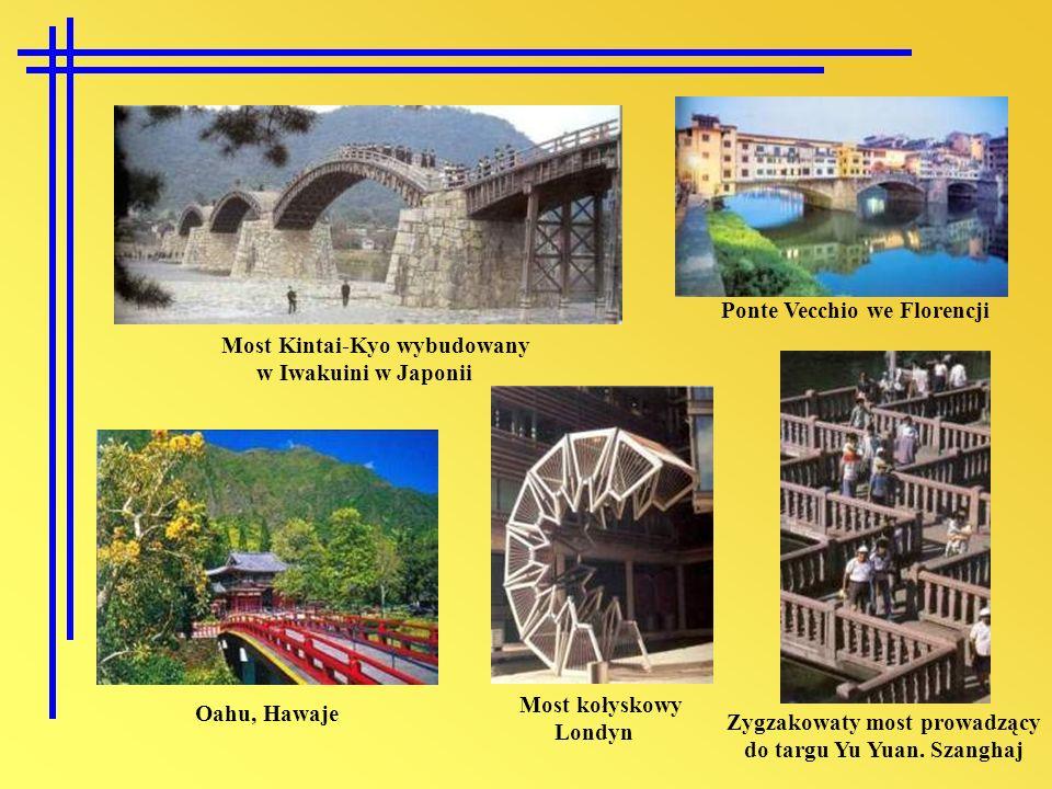 Zygzakowaty most prowadzący do targu Yu Yuan. Szanghaj Most Kintai-Kyo wybudowany w Iwakuini w Japonii Ponte Vecchio we Florencji Oahu, Hawaje Most ko