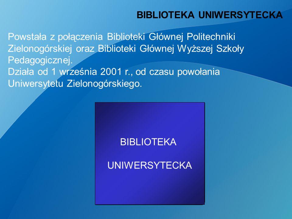 Biblioteka Główna Politechniki Zielonogórskiej Biblioteka Główna Wyższej Szkoły Pedagogicznej BIBLIOTEKA UNIWERSYTECKA Powstała z połączenia Biblioteki Głównej Politechniki Zielonogórskiej oraz Biblioteki Głównej Wyższej Szkoły Pedagogicznej.