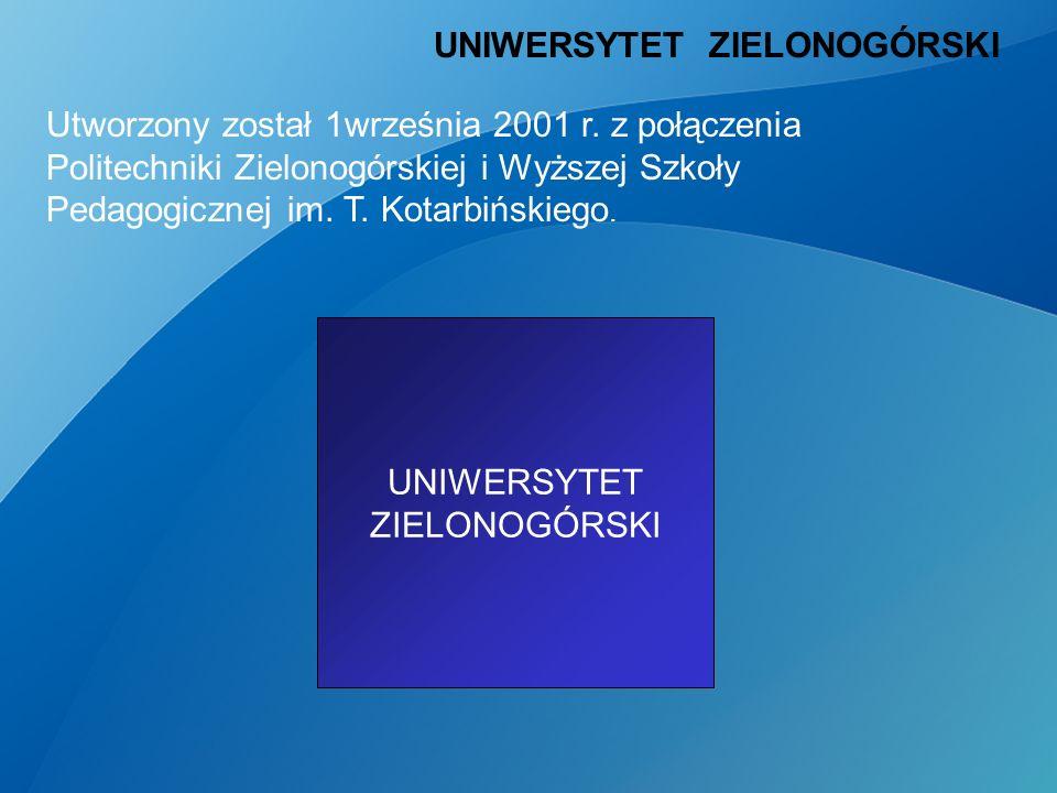 Politechnika Zielonogórska Wyższa Szkoła Pedagogiczna UNIWERSYTET ZIELONOGÓRSKI Utworzony został 1września 2001 r.
