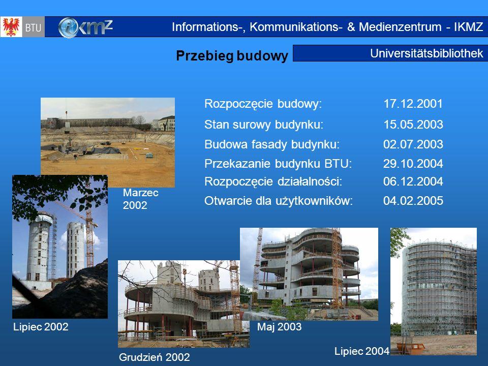 10 Universitätsbibliothek Przebieg budowy Rozpoczęcie budowy:17.12.2001 Stan surowy budynku:15.05.2003 Budowa fasady budynku:02.07.2003 Przekazanie bu