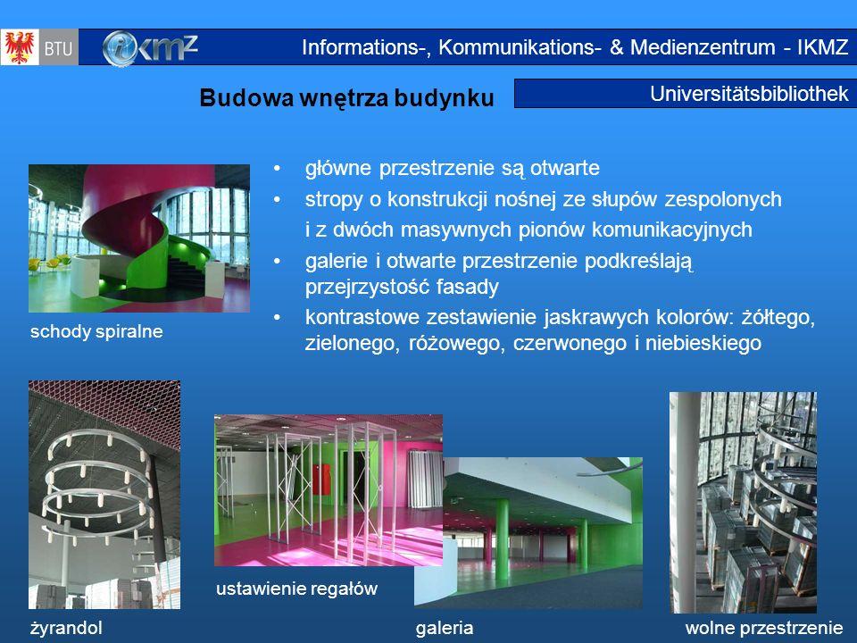12 Universitätsbibliothek Budowa wnętrza budynku Innenausbau główne przestrzenie są otwarte stropy o konstrukcji nośnej ze słupów zespolonych i z dwóc