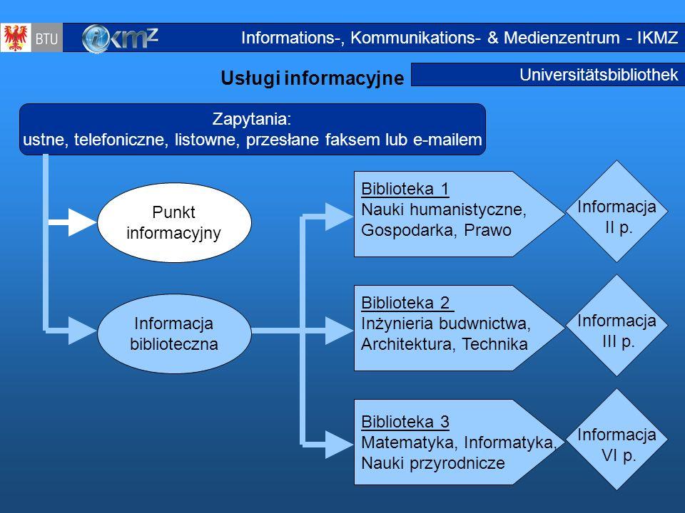 21 Universitätsbibliothek Usługi informacyjne Informationsdienstleistungen2 Zapytania: ustne, telefoniczne, listowne, przesłane faksem lub e-mailem Pu