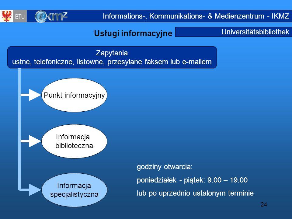 24 Universitätsbibliothek Usługi informacyjne Informationsdienstl eistungen3a Zapytania ustne, telefoniczne, listowne, przesyłane faksem lub e-mailem
