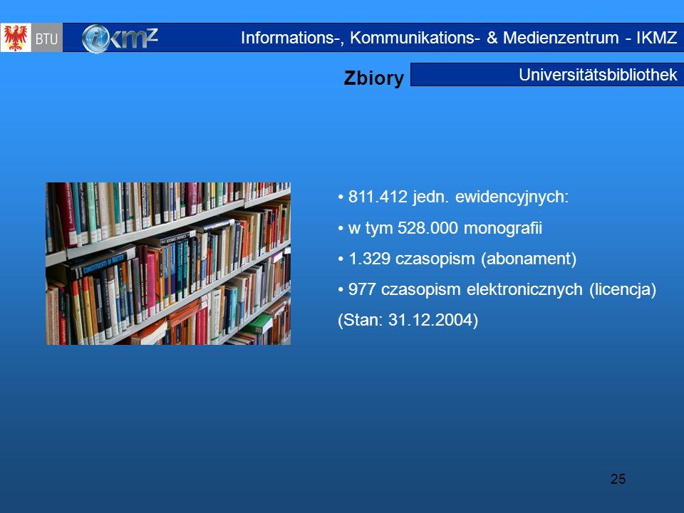 25 Universitätsbibliothek Zbiory Medienbes tand Informations-, Kommunikations- & Medienzentrum - IKMZ 811.412 jedn. ewidencyjnych: w tym 528.000 monog
