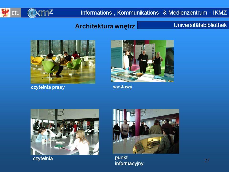 27 Universitätsbibliothek Architektura wnętrz Innengest altung Informations-, Kommunikations- & Medienzentrum - IKMZ czytelnia prasy czytelnia punkt i