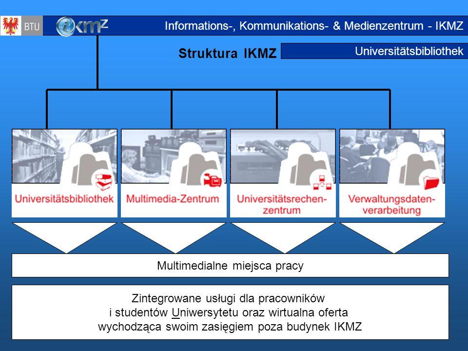 3 Universitätsbibliothek Struktura IKMZ Struktur IKMZ2 Zintegrowane usługi dla pracowników i studentów Uniwersytetu oraz wirtualna oferta wychodząca s