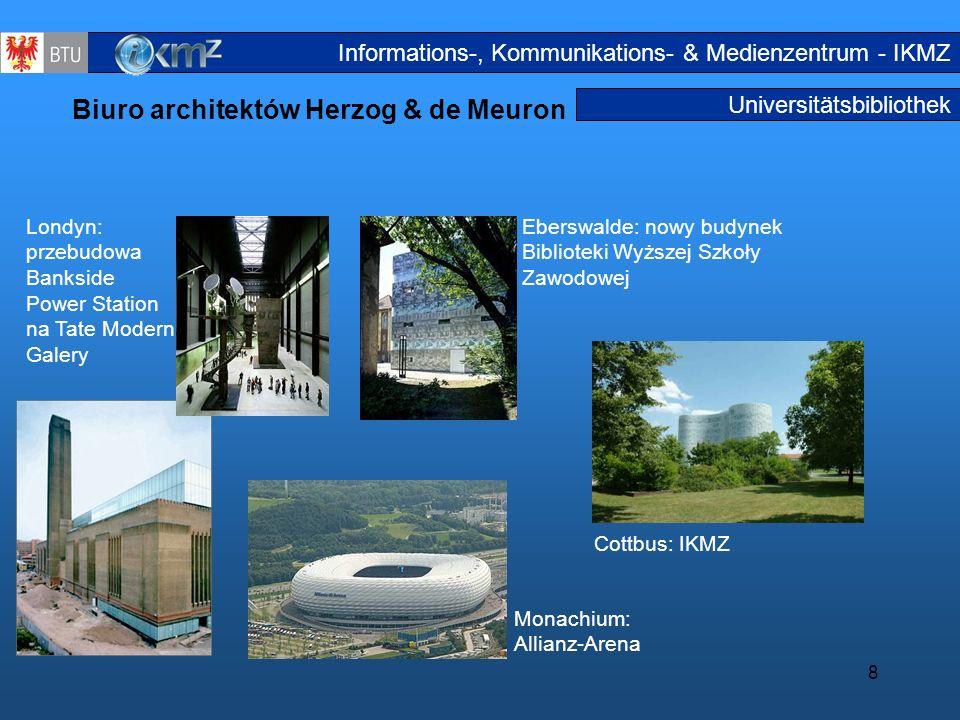 8 Universitätsbibliothek Biuro architektów Herzog & de Meuron Londyn: przebudowa Bankside Power Station na Tate Modern Galery Eberswalde: nowy budynek