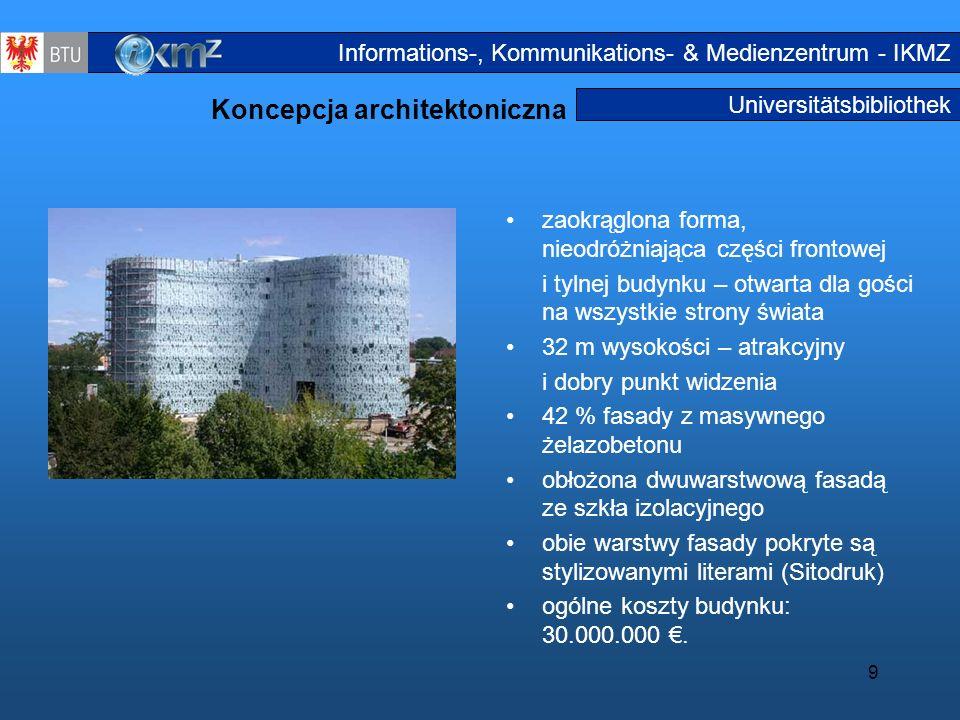9 Universitätsbibliothek Koncepcja architektoniczna zaokrąglona forma, nieodróżniająca części frontowej i tylnej budynku – otwarta dla gości na wszyst