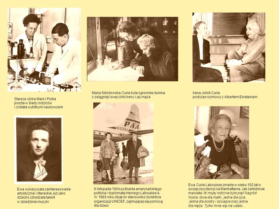 Starsza córka Marii i Piotra poszła w ślady rodziców i została wybitnym naukowcem Maria Skłodowska-Curie była ogromnie dumna z osiągnięć swej córki Ir