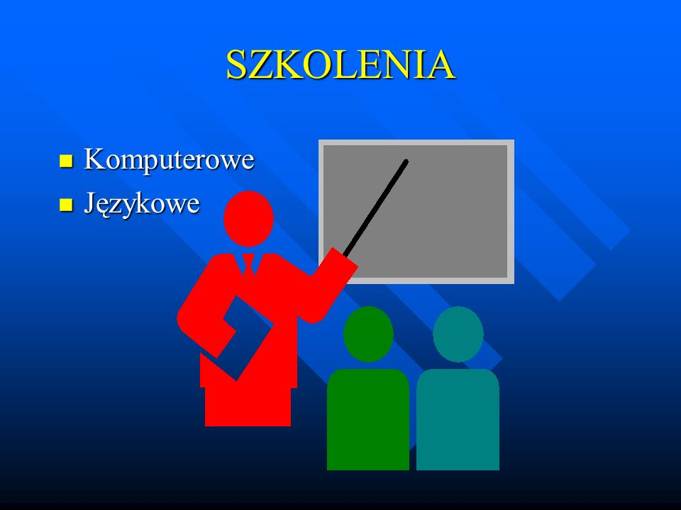 KURSY KOMPUTEROWE n System operacyjny MS WINDOWS XP, n System operacyjny MS WINDOWS 2000, n Total Commander 6.0a, n Edytor tekstów MS WORD 2007 PL, n Baza danych MS ACCESS 2007, n Prezentacje graficzne MS POWER POINT 2007
