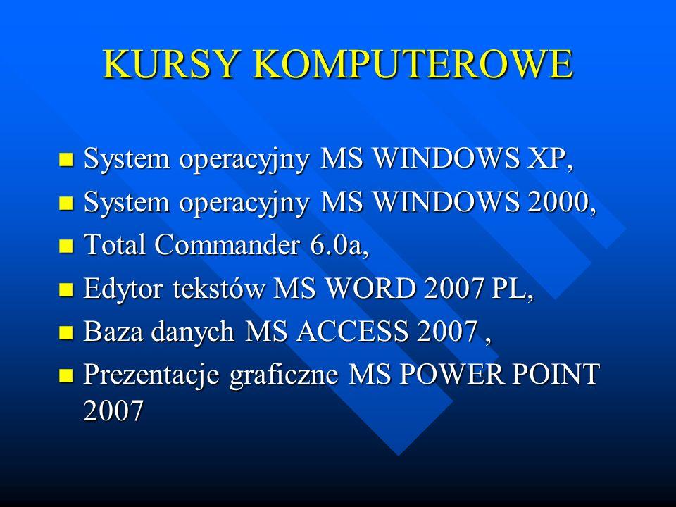 KURSY KOMPUTEROWE n System operacyjny MS WINDOWS XP, n System operacyjny MS WINDOWS 2000, n Total Commander 6.0a, n Edytor tekstów MS WORD 2007 PL, n