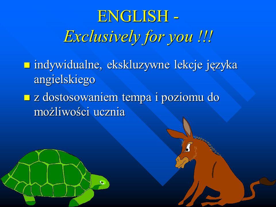 ENGLISH - Exclusively for you !!! n indywidualne, ekskluzywne lekcje języka angielskiego n z dostosowaniem tempa i poziomu do możliwości ucznia