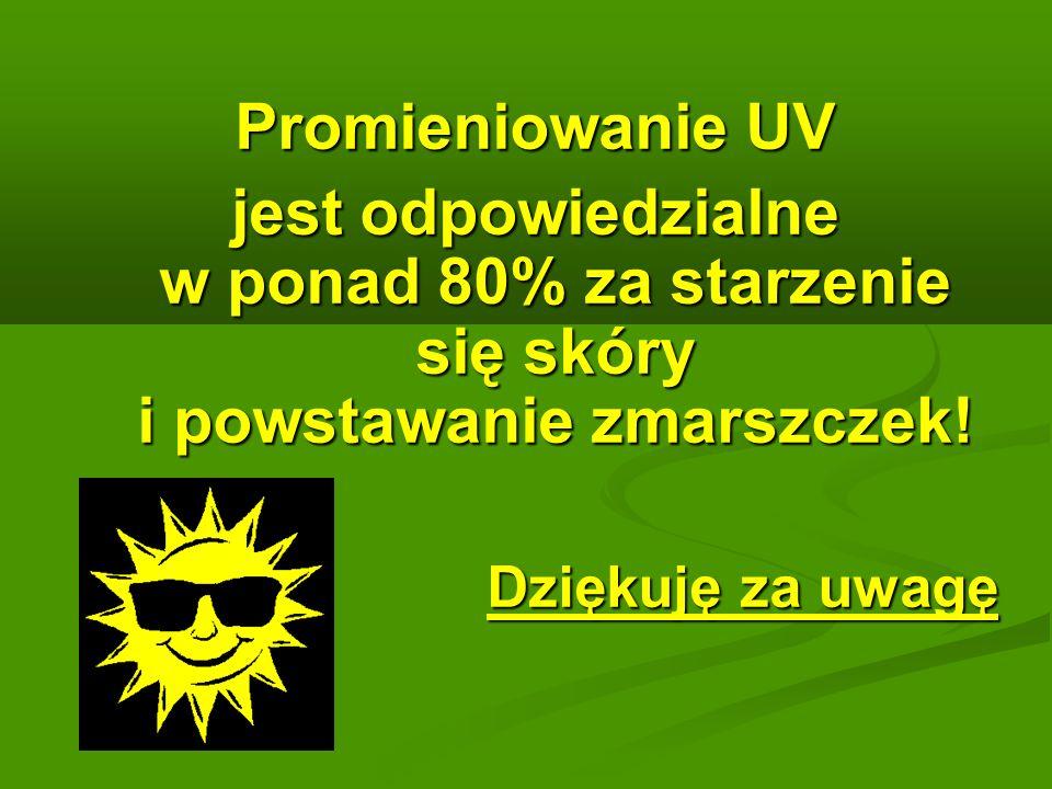 Promieniowanie UV jest odpowiedzialne w ponad 80% za starzenie się skóry i powstawanie zmarszczek.