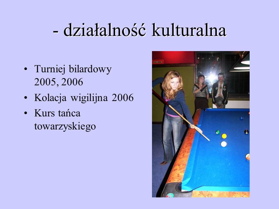 - działalność kulturalna Turniej bilardowy 2005, 2006 Kolacja wigilijna 2006 Kurs tańca towarzyskiego