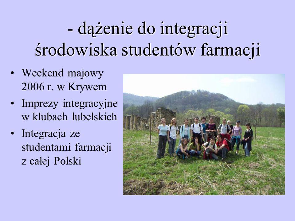 - dążenie do integracji środowiska studentów farmacji Weekend majowy 2006 r. w Krywem Imprezy integracyjne w klubach lubelskich Integracja ze studenta