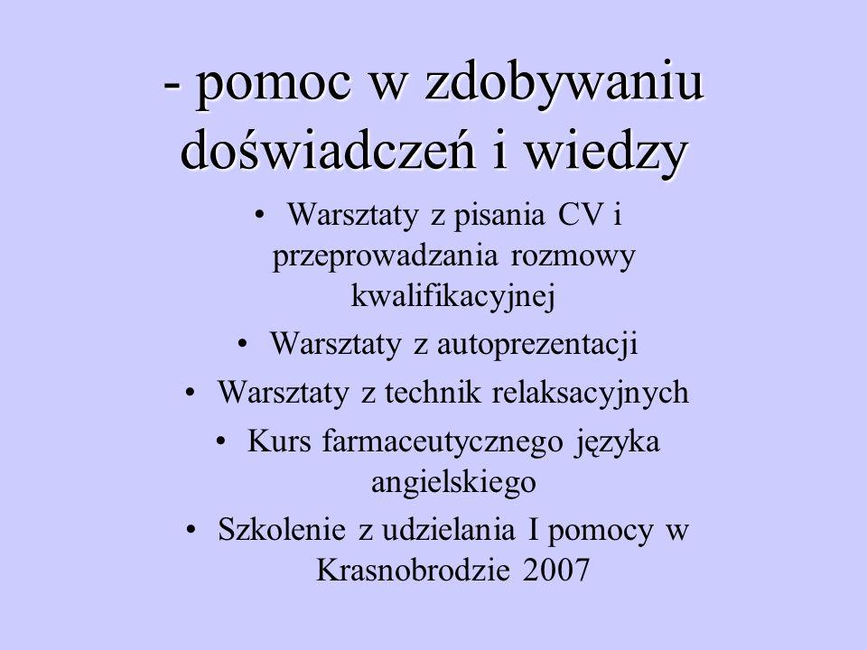 - pomoc innym: Biała Niedziela – maj 2006 Akcja Apteka Pluszowego Misia Akcja Pomóż dzieciom przetrwać zimę Akcja mikołajkowa dla dzieci z DSK