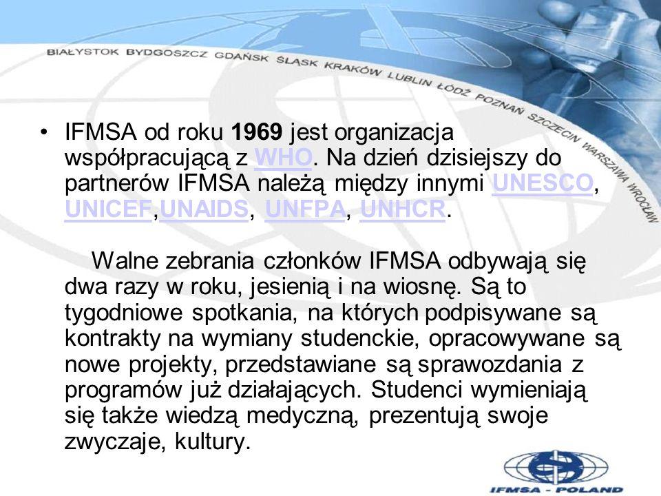 IFMSA od roku 1969 jest organizacja współpracującą z WHO. Na dzień dzisiejszy do partnerów IFMSA należą między innymi UNESCO, UNICEF,UNAIDS, UNFPA, UN