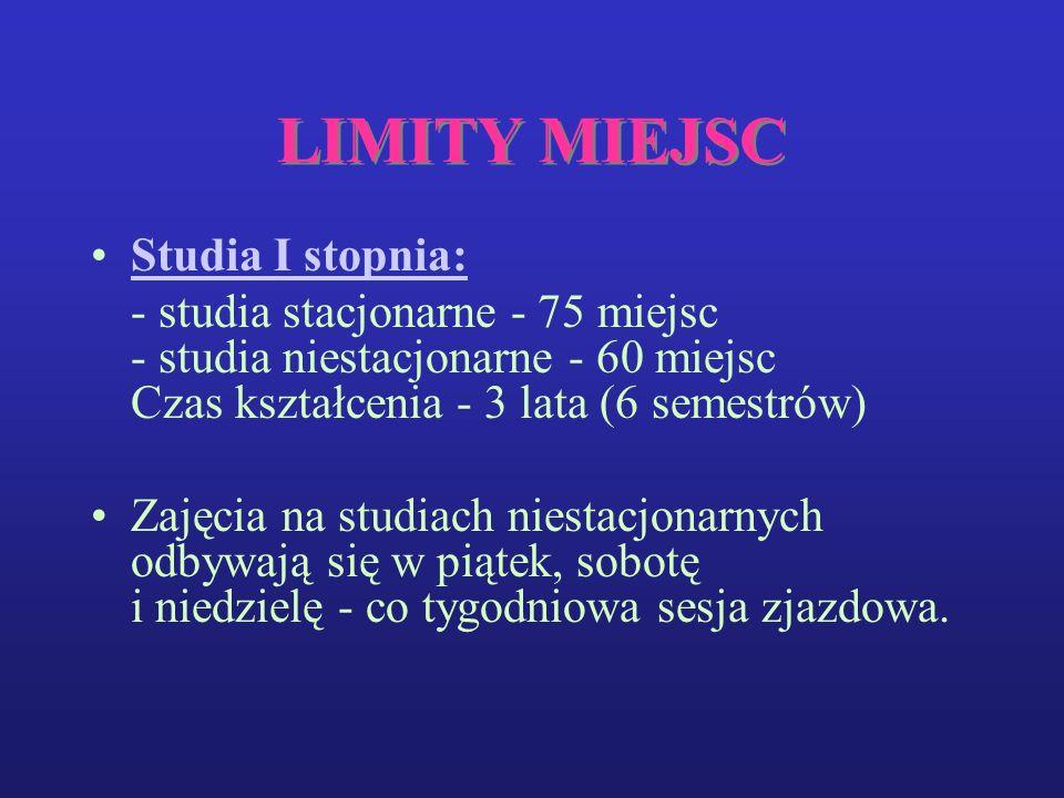 LIMITY MIEJSC Studia I stopnia: - studia stacjonarne - 75 miejsc - studia niestacjonarne - 60 miejsc Czas kształcenia - 3 lata (6 semestrów) Zajęcia na studiach niestacjonarnych odbywają się w piątek, sobotę i niedzielę - co tygodniowa sesja zjazdowa.