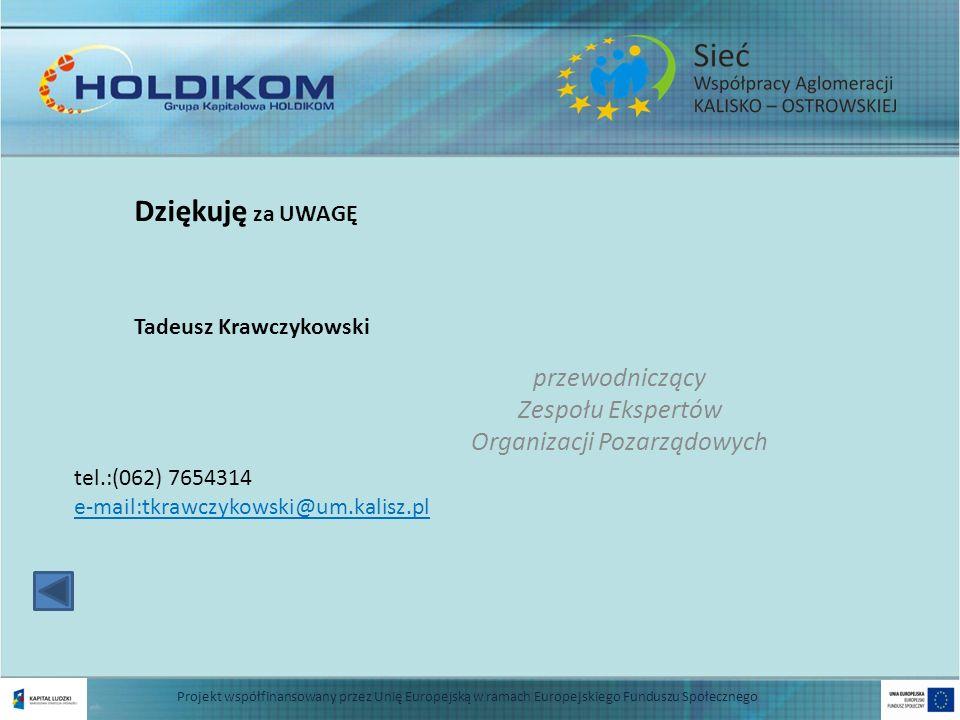 przewodniczący Zespołu Ekspertów Organizacji Pozarządowych Tadeusz Krawczykowski tel.:(062) 7654314 e-mail:tkrawczykowski@um.kalisz.pl 13 Projekt wspó