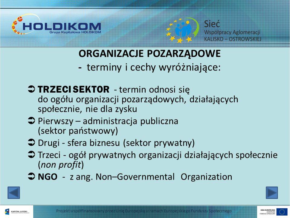 CECHY ORGANIZACJI POZARZĄDOWYCH: dobrowolność tworzenia i określania kierunków działalności niezależność od państwa działanie na rzecz dobra wspólnego realizacja celów bez osiągania zysków (niedochodowość) 3 Projekt współfinansowany przez Unię Europejską w ramach Europejskiego Funduszu Społecznego